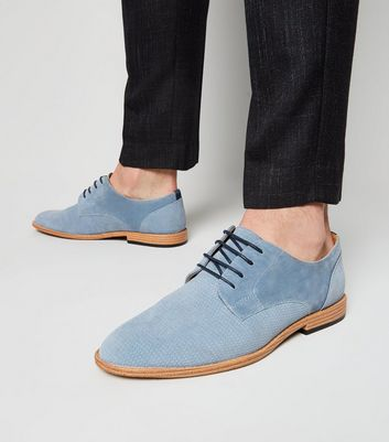 Pale Blue Suedette Embossed Derby Shoes