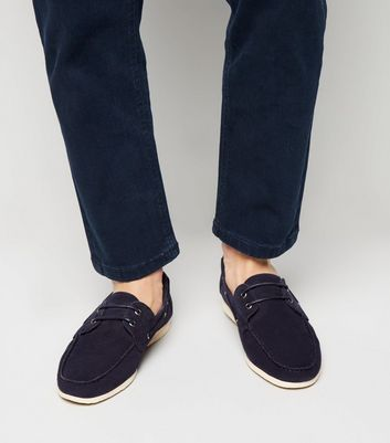 Navy Suedette Boat Shoes