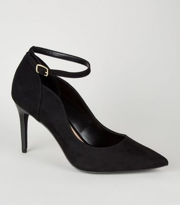 Black Suedette Pointed Ankle Strap Courts