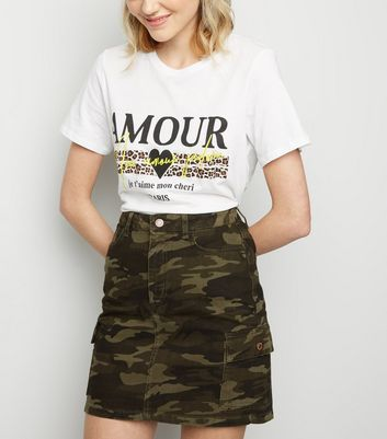 Khaki Camo Cargo Pocket Denim Skirt
