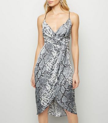 Blue Vanilla Light Grey Snake Print Dress