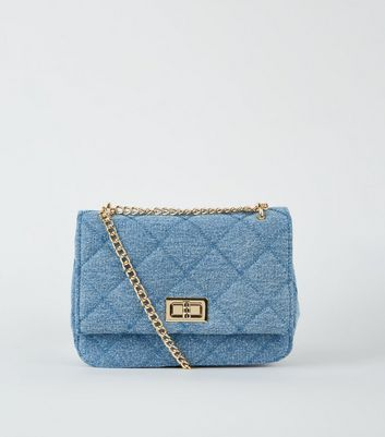 Blue Denim Chain Shoulder Bag