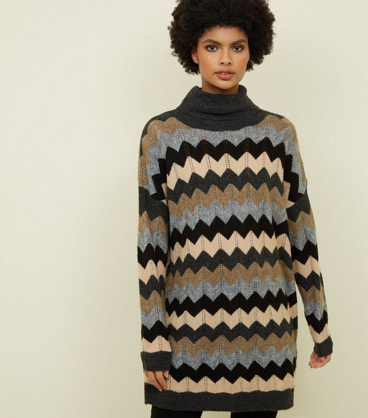 24c9839e24 Blue Zig Zag Roll Neck Jumper Dress