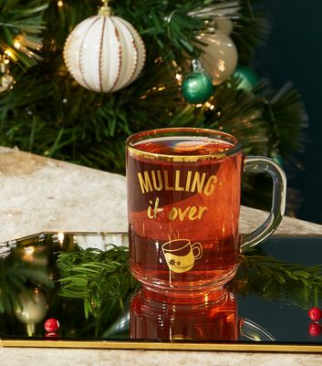 Clear Mull It Over Slogan Christmas Glass Cup