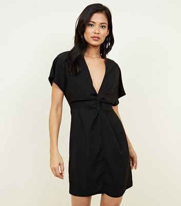 Black Plunge Twist Front Mini Dress