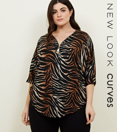 3814601932f ... Curves Brown Ombré Tiger Print Tunic Top ...
