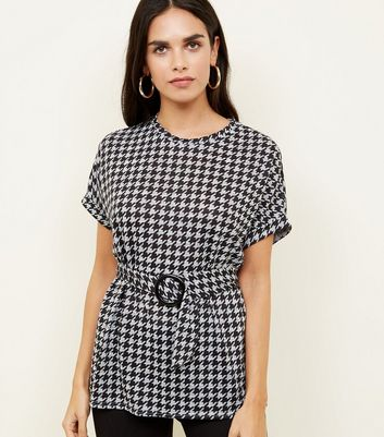 Black Fine Knit Houndstooth Buckle Waist Top