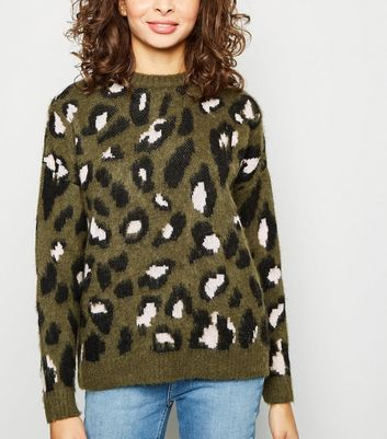 Khaki Brushed Leopard Print Jumper