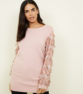 Cameo Rose Pink Sequin Sleeve Jumper