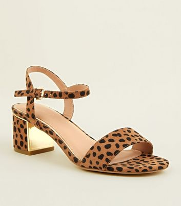 Wide Fit Brown Leopard Print Suedette Heeled Sandals