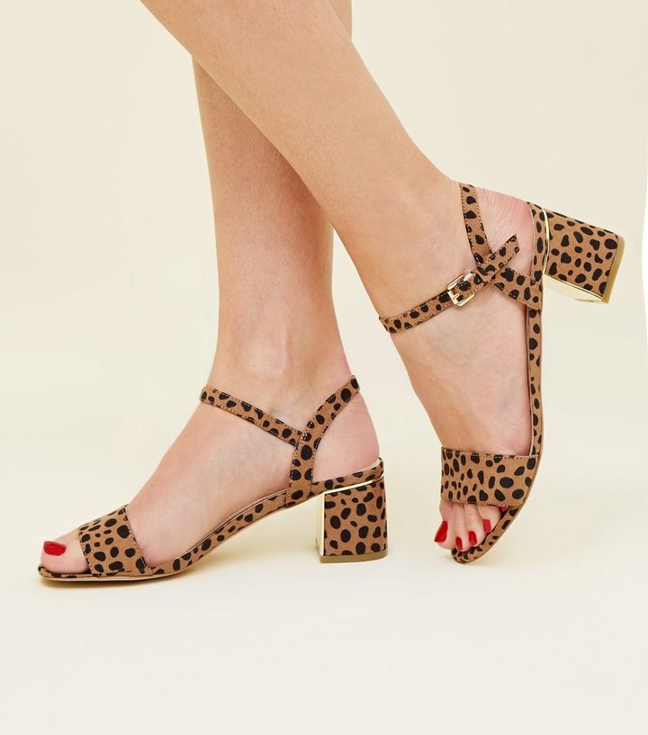 1e12a95ad2e Wide Fit Brown Leopard Print Suedette Heeled Sandals Add to Saved Items  Remove from Saved Items