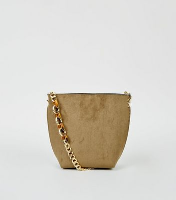 Khaki Suedette Resin Chain Bucket Bag