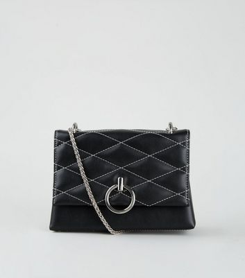 Black Contrast Stitch Quilted Shoulder Bag