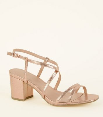 Wide Fit Rose Gold Shimmer Strappy Block Heels