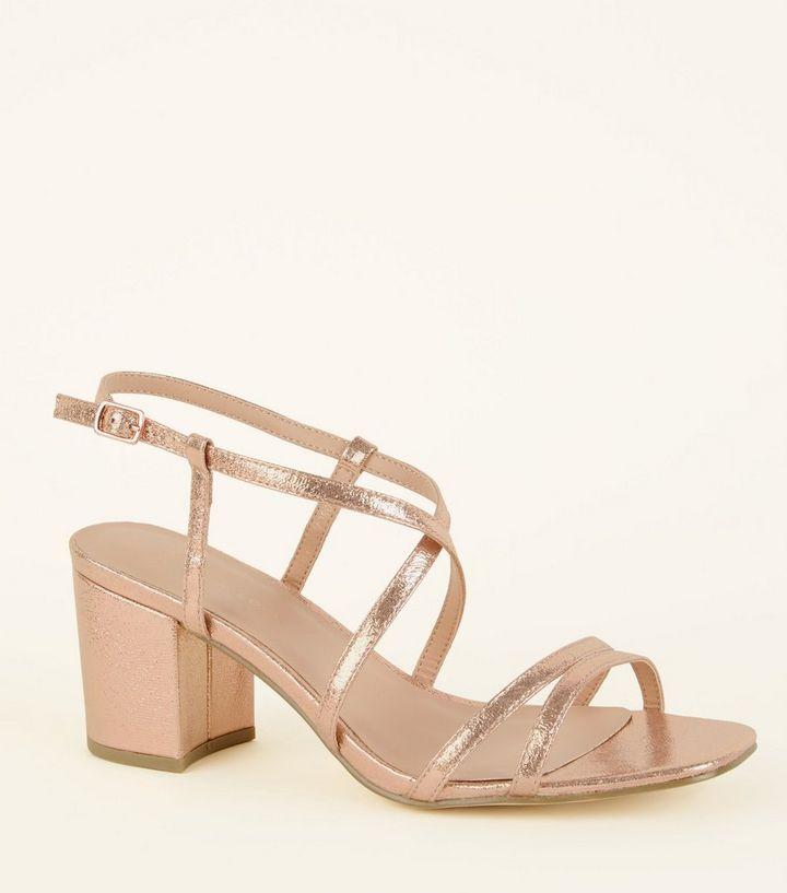 ed915037cdd0 Wide Fit Rose Gold Shimmer Strappy Block Heels
