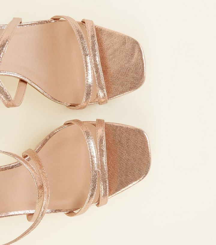 ac0b21fcd70 Wide Fit Rose Gold Shimmer Strappy Block Heels Add to Saved Items Remove  from Saved Items