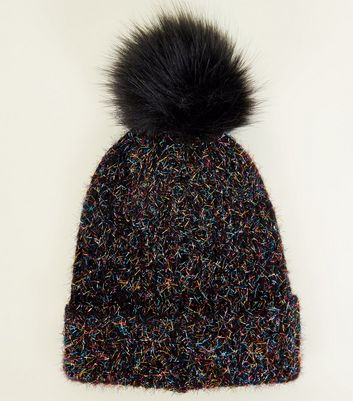 Black Tinsel Faux Fur Bobble Hat