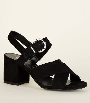 Girls Black Suedette Block Heel Sandals