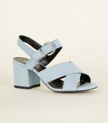 Girls Blue Suedette Block Heel Sandals