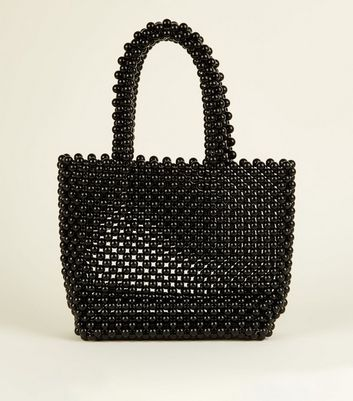 Black Beaded Grab Tote Bag