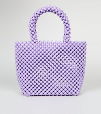 Lilac Beaded Grab Tote Bag