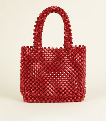 Red Beaded Grab Tote Bag