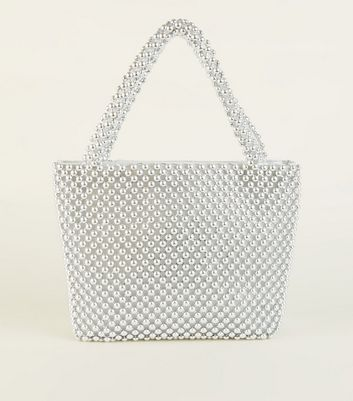 Silver Beaded Grab Tote Bag