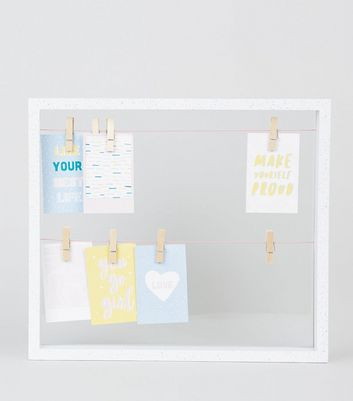 White Speckle Frame Glass Peg Board