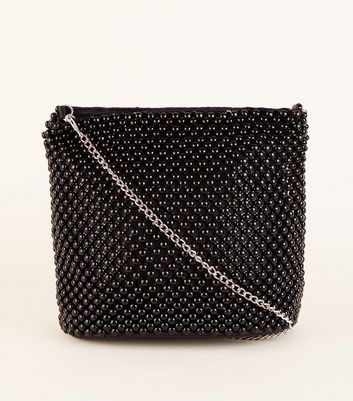 Black Beaded Bucket Bag