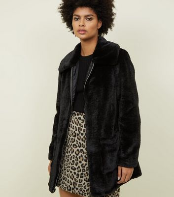 Black Patch Pocket Faux Fur Jacket