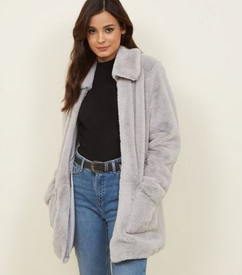 Pale Grey Patch Pocket Faux Fur Jacket