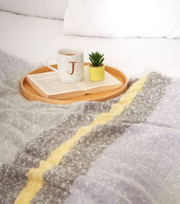 Grey Pastel Colour Block Stripe Throw
