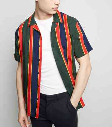 Dark Green Multi Stripe Short Sleeve Shirt