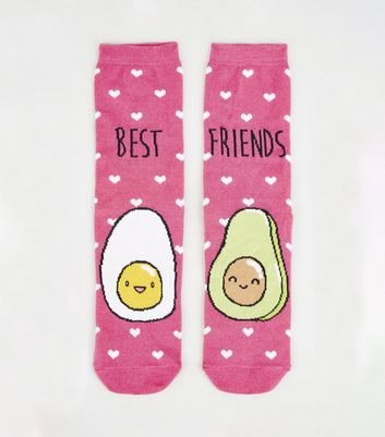 2 Pack Pink Best Friends Avocado and Egg Socks