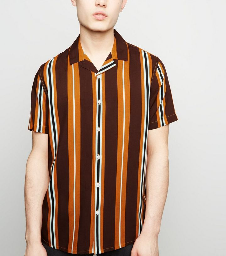 eeb01235330a9d Rust Vertical Stripe Short Sleeve Shirt | New Look