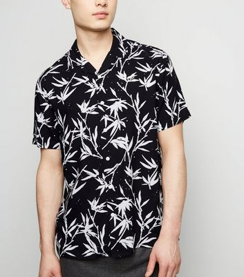 Black Bamboo Print Revere Collar Shirt