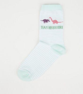 Mint Green Stripe Team Herbivore Glitter Dinosaur Socks by New Look