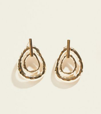 WANTED Gold Hammered Linked Oval Earrings