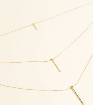 WANTED Gold Stick Pendant Layered Necklace