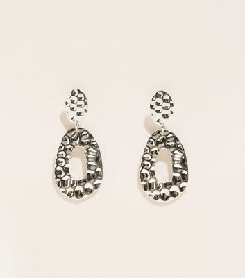 WANTED Silver Hammered Drop Oval Earrings
