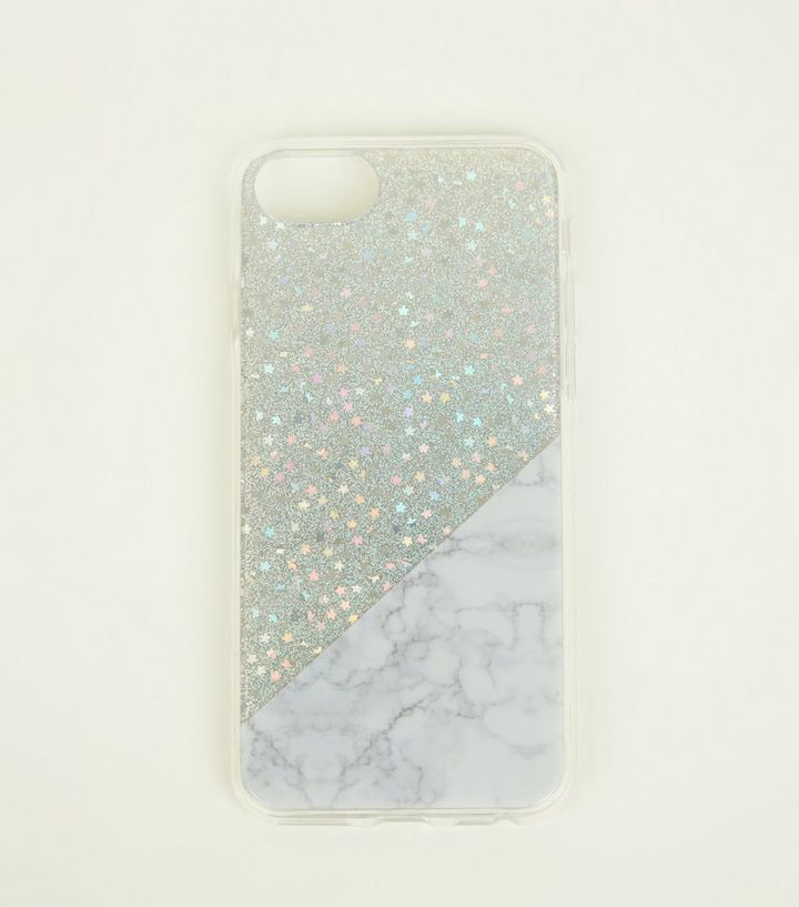 save off f5770 94899 Silver Glitter and Marble Effect iPhone 6/6s/7/8 Case Add to Saved Items  Remove from Saved Items