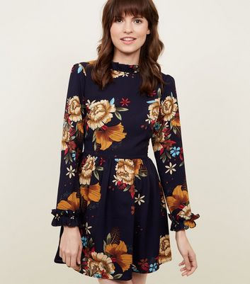 AX Paris Navy Floral Frill Trim Skater Dress