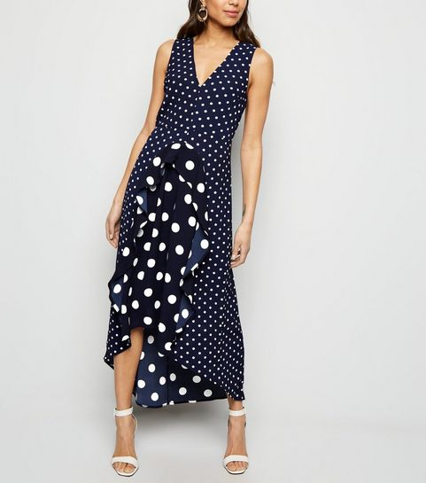 ... AX Paris Navy Spot Print Frill Midi Dress ... ebfc761eb
