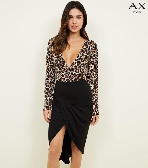 7f121cc6fb2 ... AX Paris Brown Leopard Print 2 in 1 Dress ...