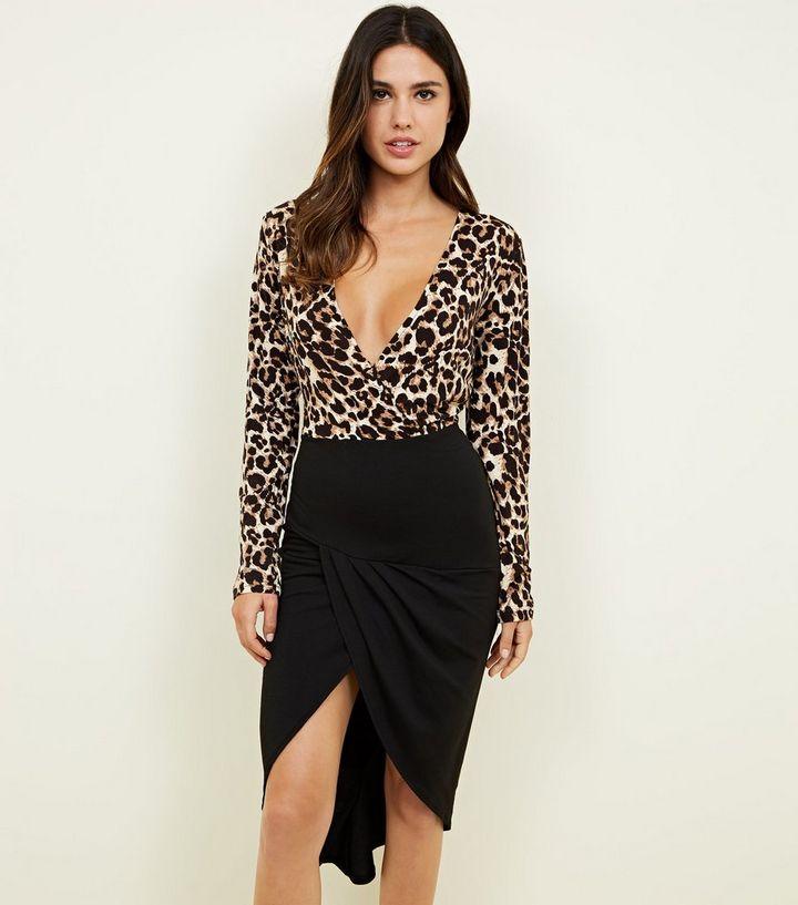 2e4566ea925f AX Paris Brown Leopard Print 2 in 1 Dress | New Look