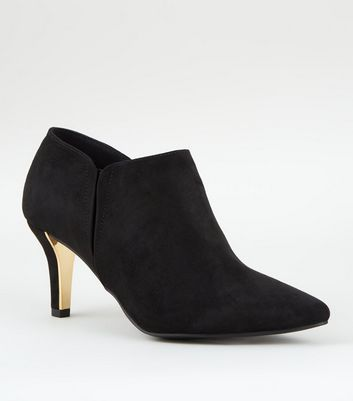 Wide Fit Black Suedette Metal Trim Shoe Boots