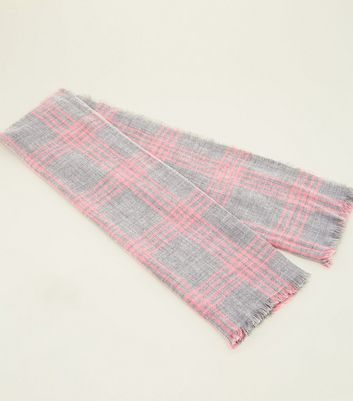 Grey and Neon Pink Check Scarf