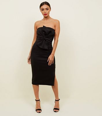 Black Strapless Bow Front Midi Dress