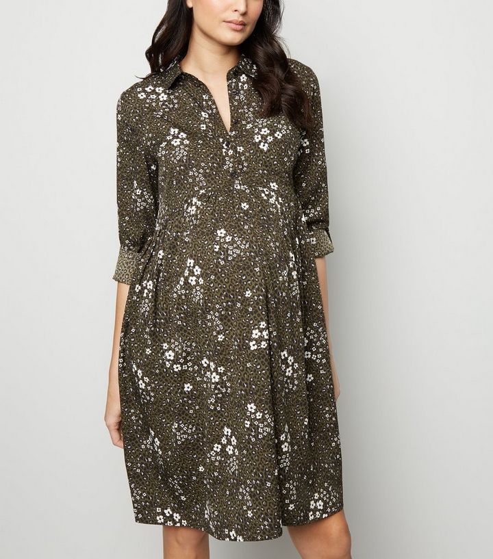 988926512e Maternity Green Floral Leopard Print Shirt Dress