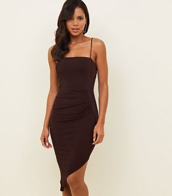 Burgundy Ruched Asymmetric Bodycon Dress